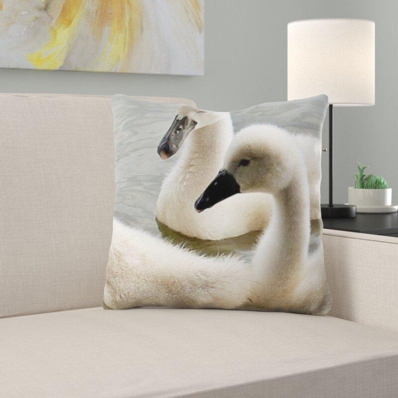 East Urban Home Swans Throw Pillow Wayfair