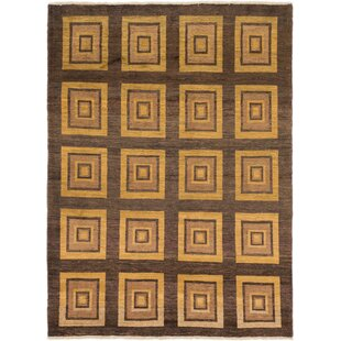 Best Price One-of-a-Kind Didcot Hand-Knotted 6' x 8'2 Wool Brown/Gold Area Rug By Isabelline