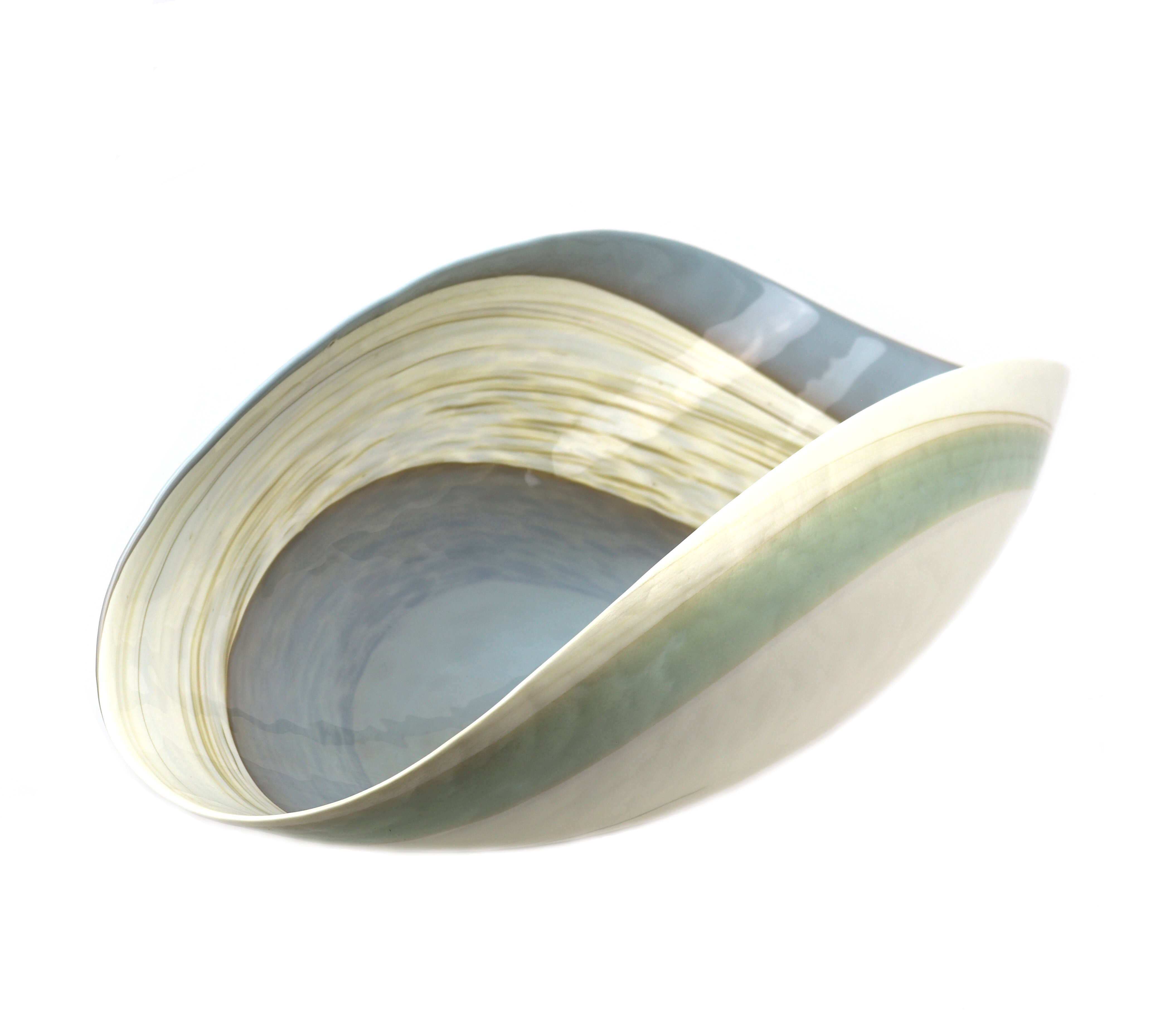 Rosecliff Heights Dede Glass Oval Beachy Decorative Bowl In Ivory Aqua Blue Wayfair