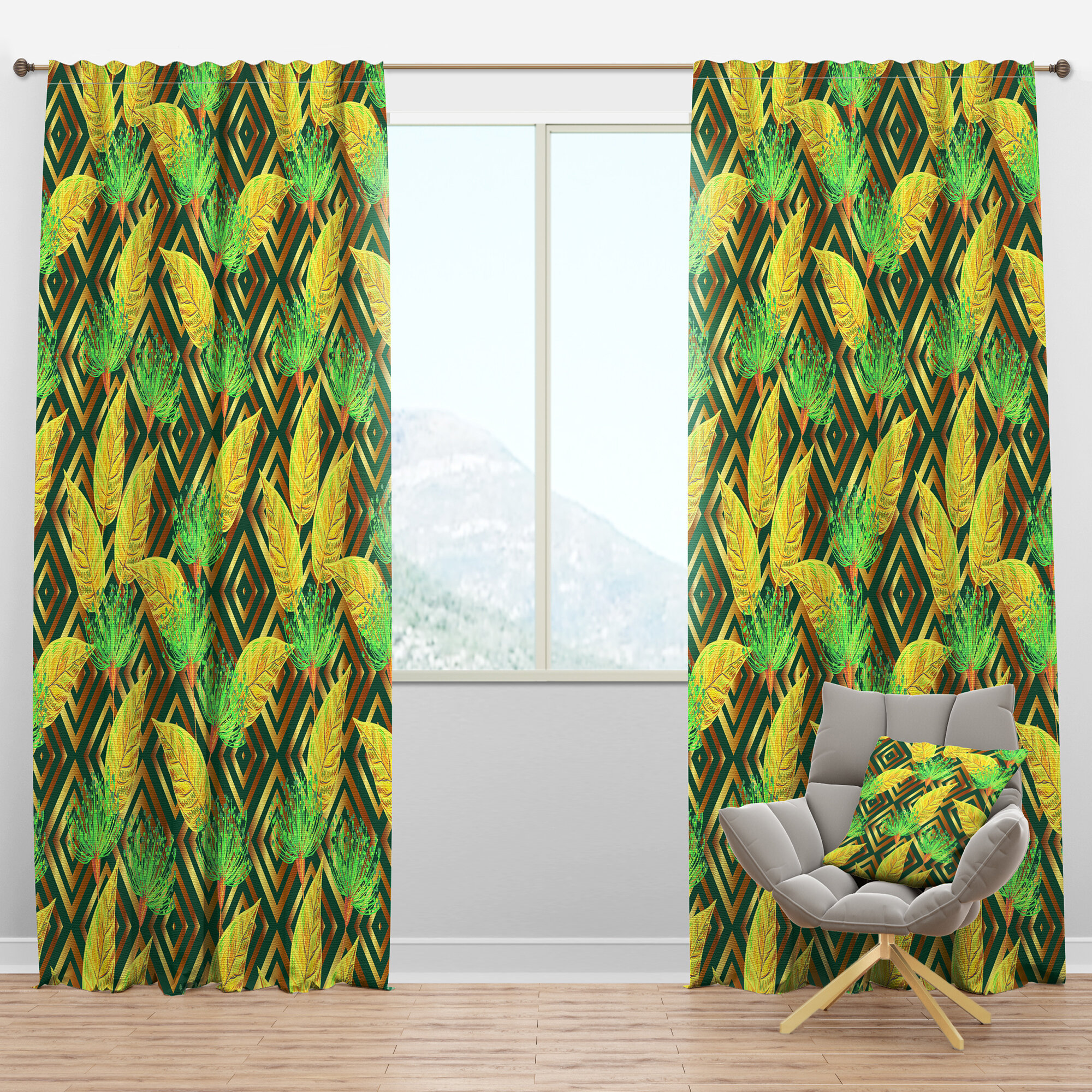 Designart Mid Century Tropical Luxury Pattern Ii Floral Semi Sheer Thermal Rod Pocket Single Curtain Panel Wayfair