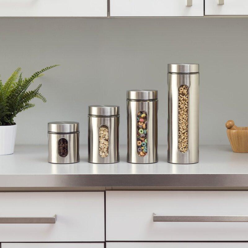 wayfair basics 4 piece stainless steel kitchen canister