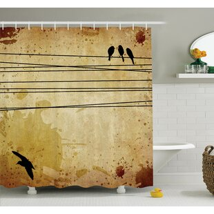 Birds on Cable Grunge Shower Curtain Set