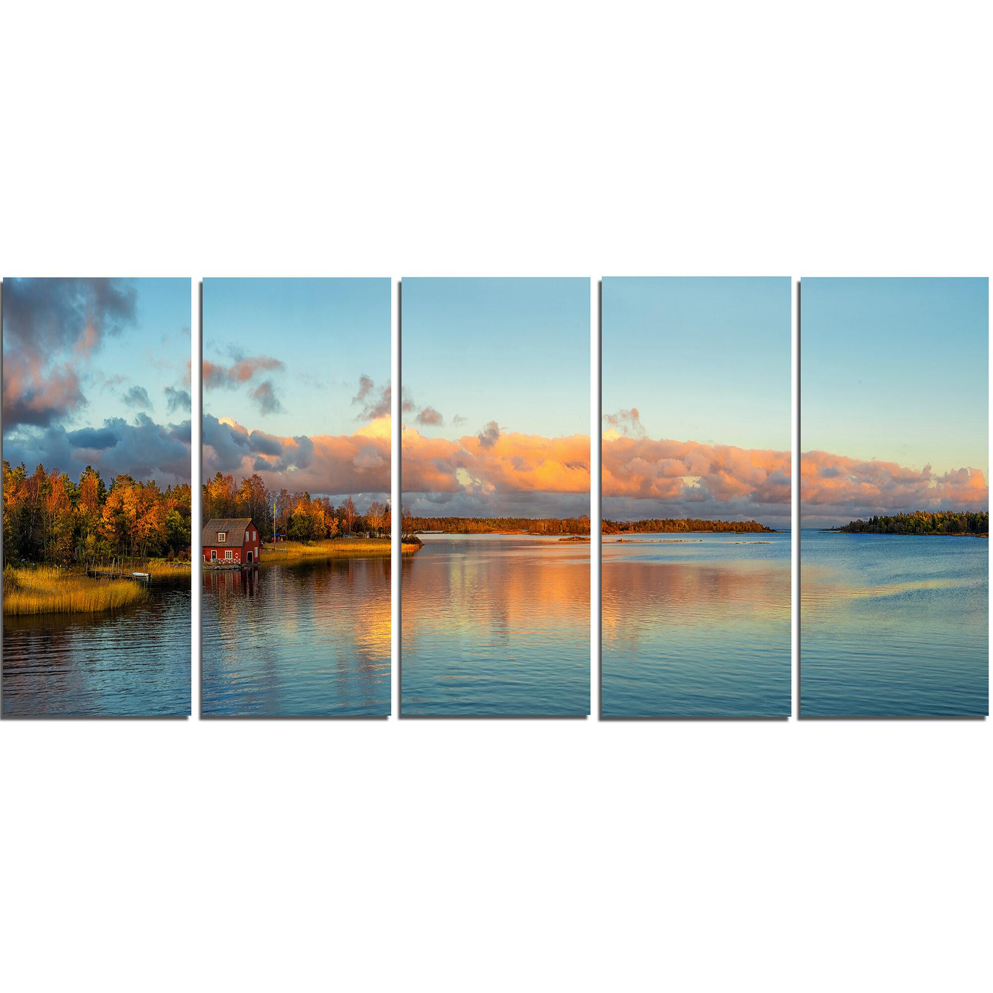 Designart Autumn Sunset Panorama 5 Piece Wall Art On Wrapped Canvas Set Wayfair Ca