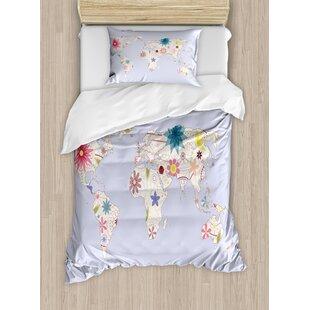 World map bedding sets wayfair playroom retro style world map with soft pastel tone blooms kids girls atlas illustration duvet set gumiabroncs Gallery