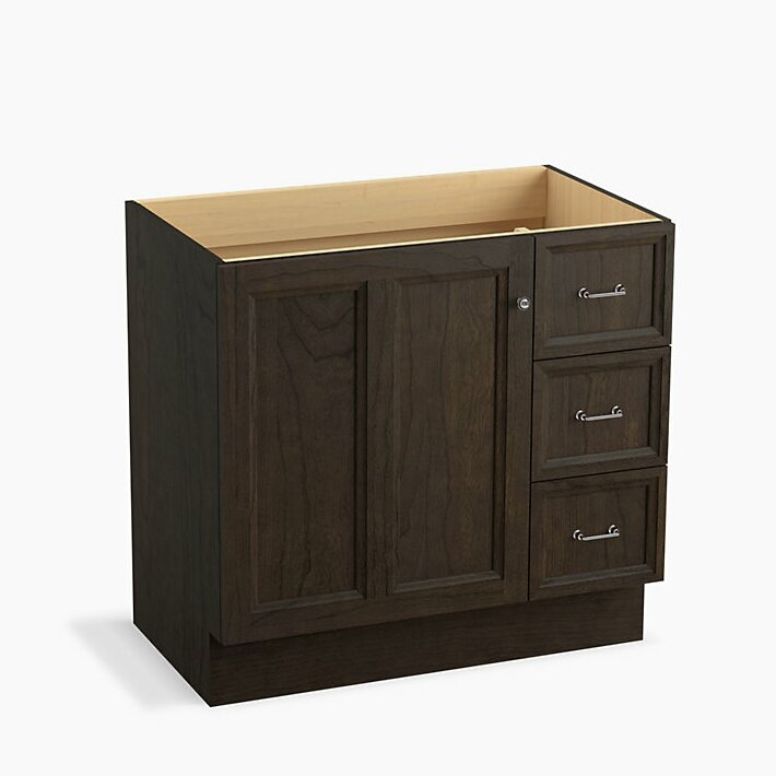 Kohler Damask 36 Vanity Base Only With Toe Kick 1 Door And 3 Drawers On Right Wayfair