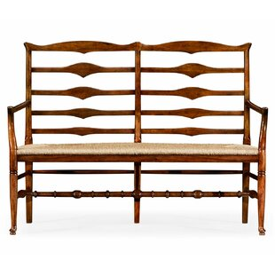 Double Ladder Back Wood Bench