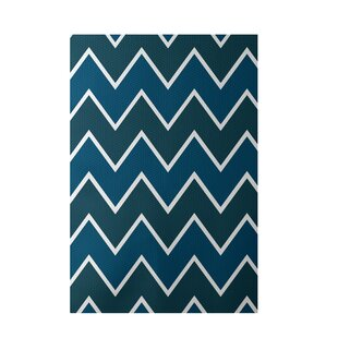 Chevron Hand-Woven Teal Indoor/Outdoor Area Rug