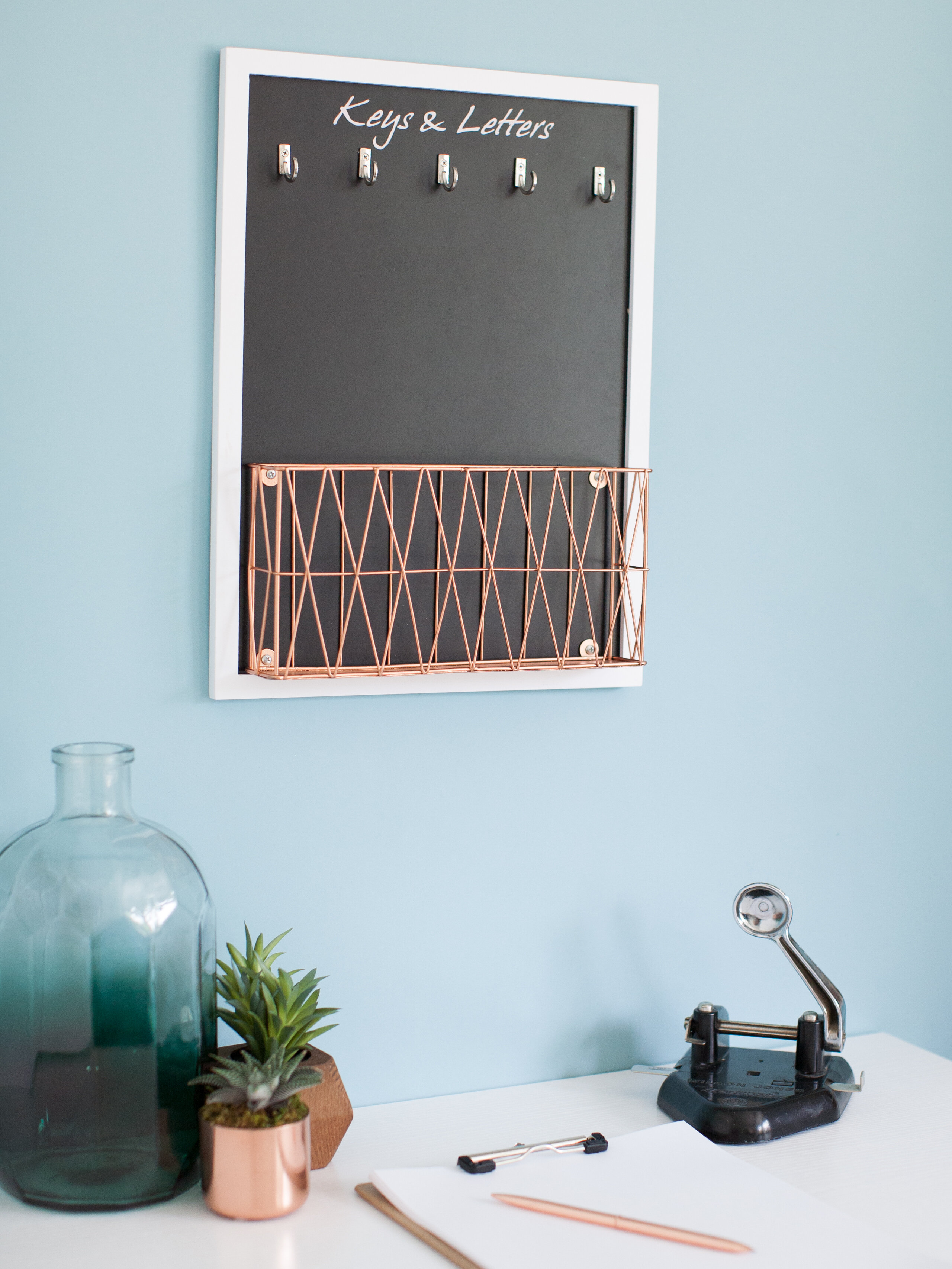 Wrought Studio Gennessee Wall Mail Organizer With Chalkboardkey
