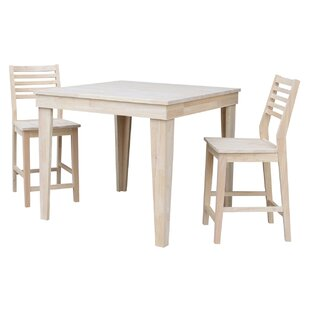 Theodosia 3 Piece Pub Table Set Highland Dunes