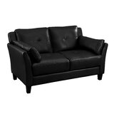 56 Wide Faux Leather Flared Arm Loveseat by Hokku Designs