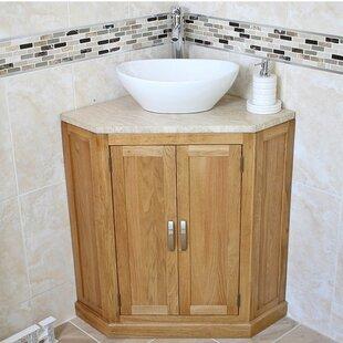 Asenath Solid Oak 550mm Corner Vanity Unit By Belfry Bathroom