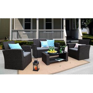 Edward 4 Piece Rattan Sofa Seating Group with Cushions (Set of 2)