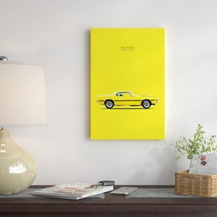 '1969 Ford Mustang Shelby GT350' Graphic Art Print on Canvas in Yellow ByEast Urban Home
