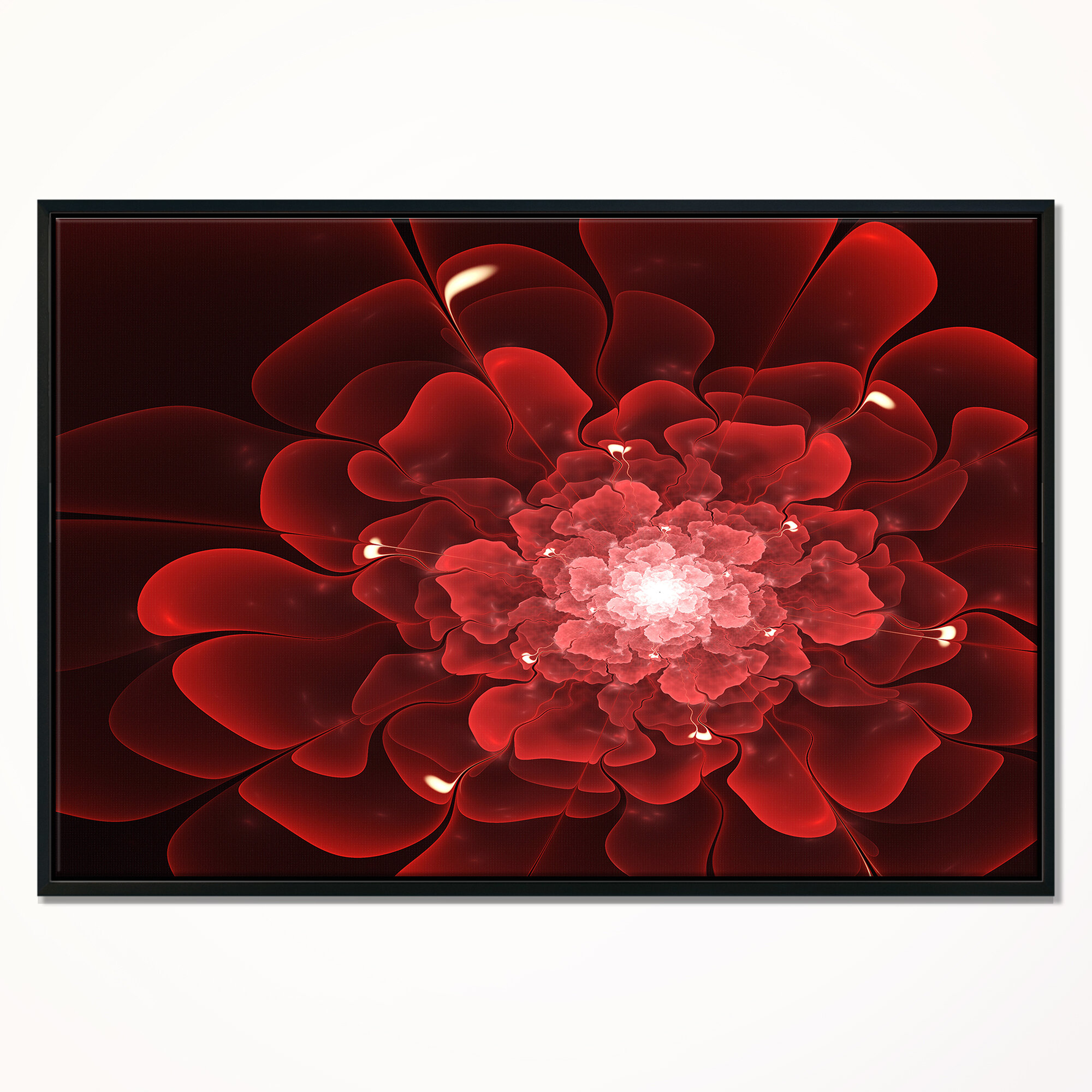 East Urban Home Fractal Flower Clear Red Digital Art Framed Graphic Art Print On Wrapped Canvas Wayfair
