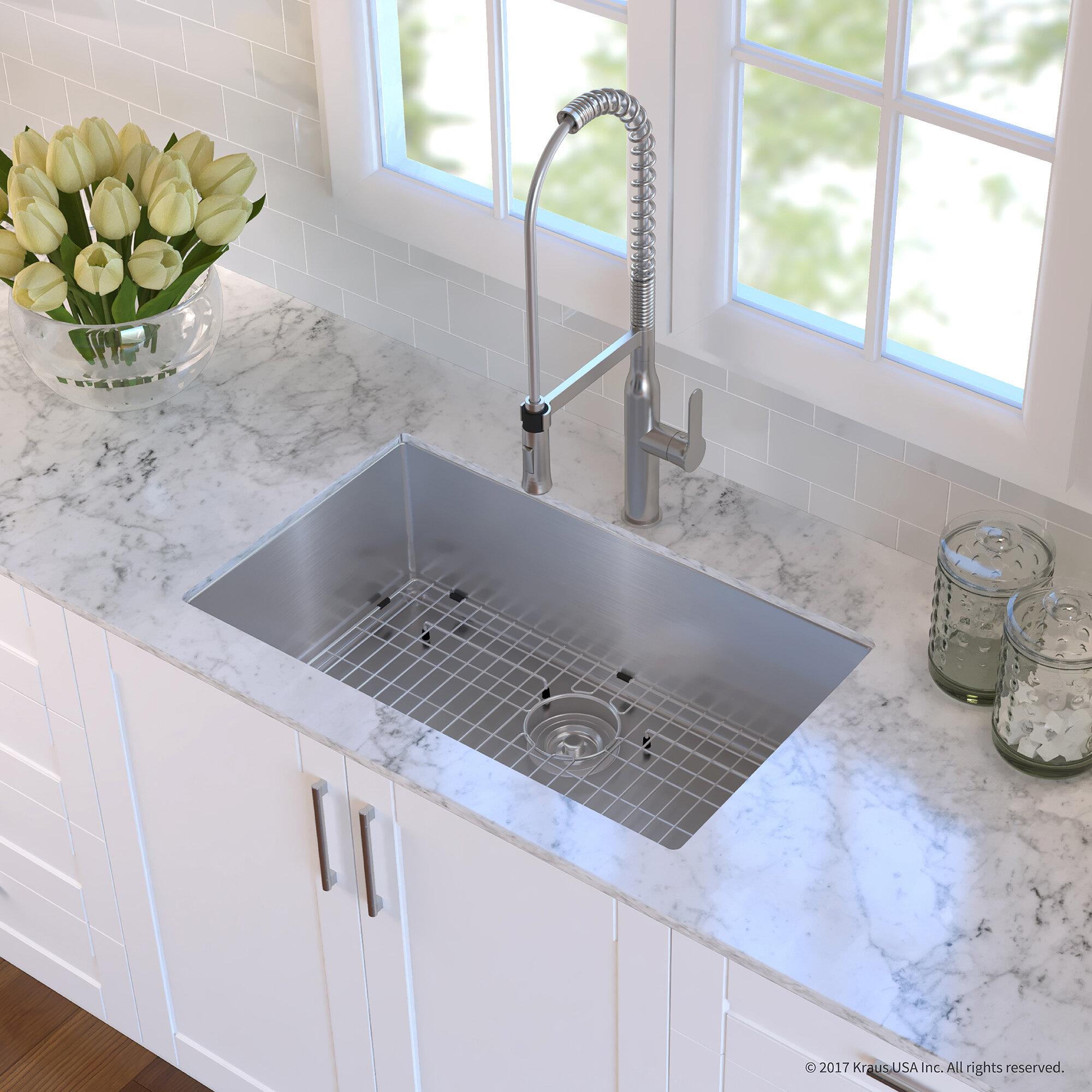 Khu100 30 1650 41ss Handmade Stainless Steel 16 Gauge L X 18 W Undermount Kitchen Sink With Faucet