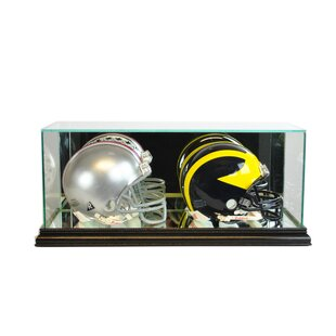 Double Mini Football Helmet Display Case By Perfect Cases and Frames