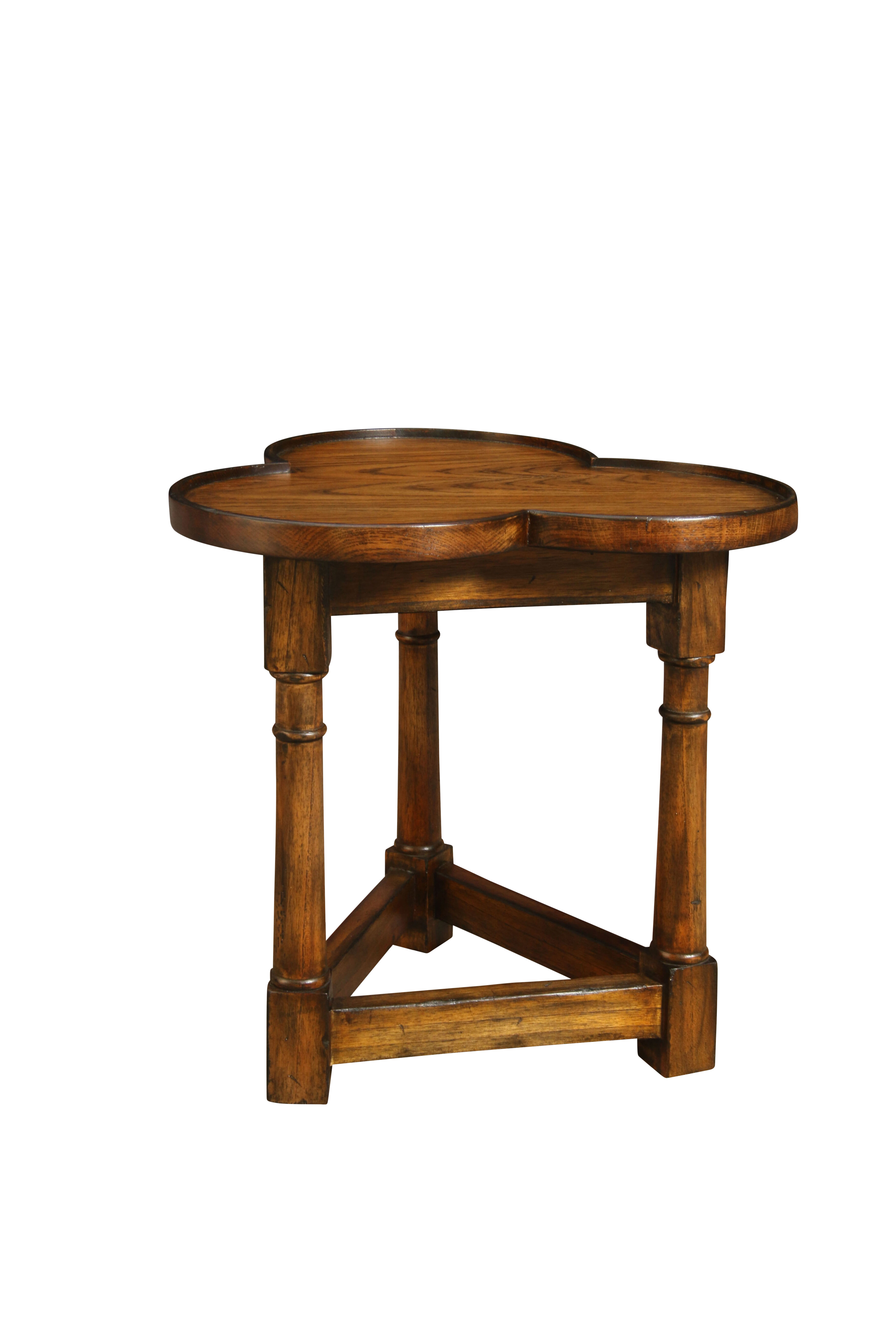 Manor Born Furnishings Cloverleaf Solid Wood Tray Top 3 Legs End Table Perigold