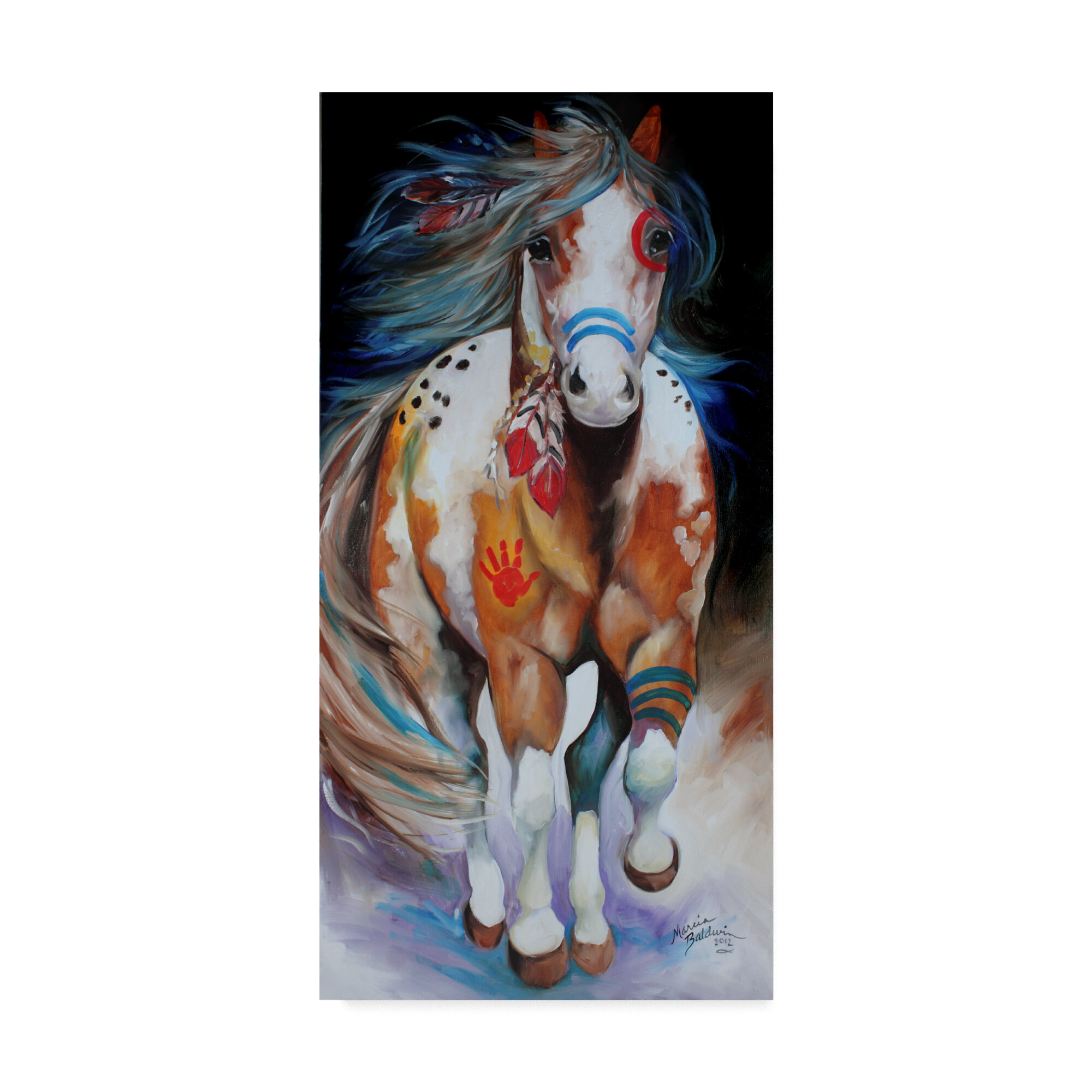 Trademark Art Brave The Indian War Horse Acrylic Painting Print On Wrapped Canvas Reviews