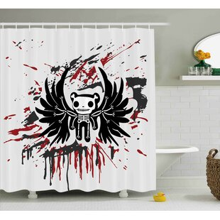 Francis Halloween Teddy Bones With Skull Face and Wings Dead Humor Funny Comic Terror Design Single Shower Curtain