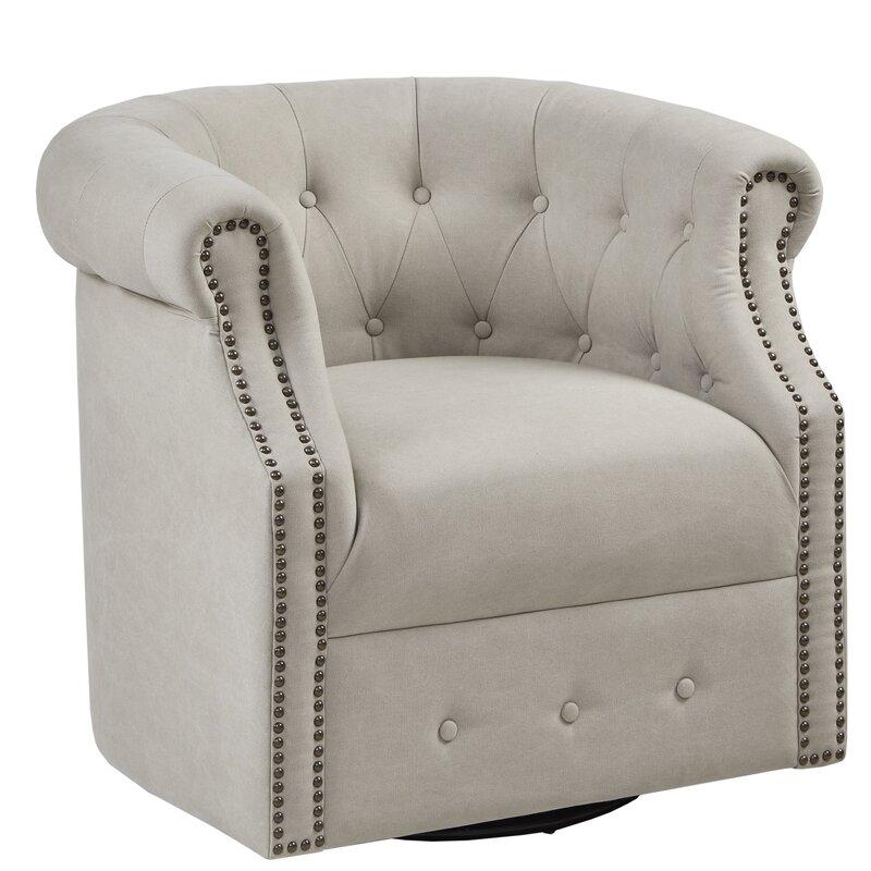 Three Posts Lought Swivel Barrel Chair U0026 Reviews | Wayfair