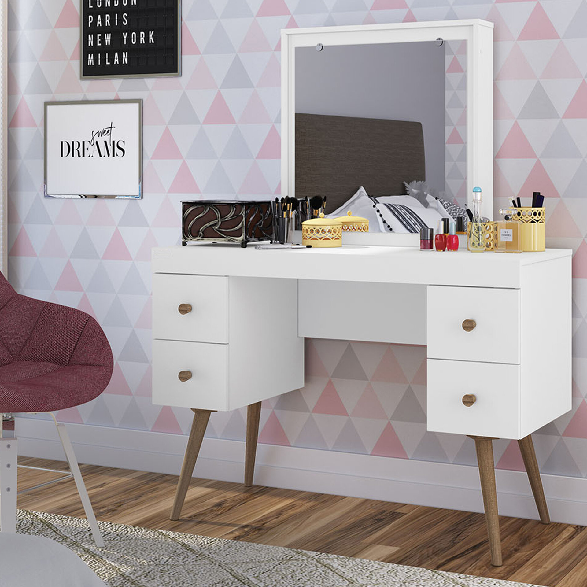 Sensational Froehlich Dressing Vanity With Mirror Ncnpc Chair Design For Home Ncnpcorg