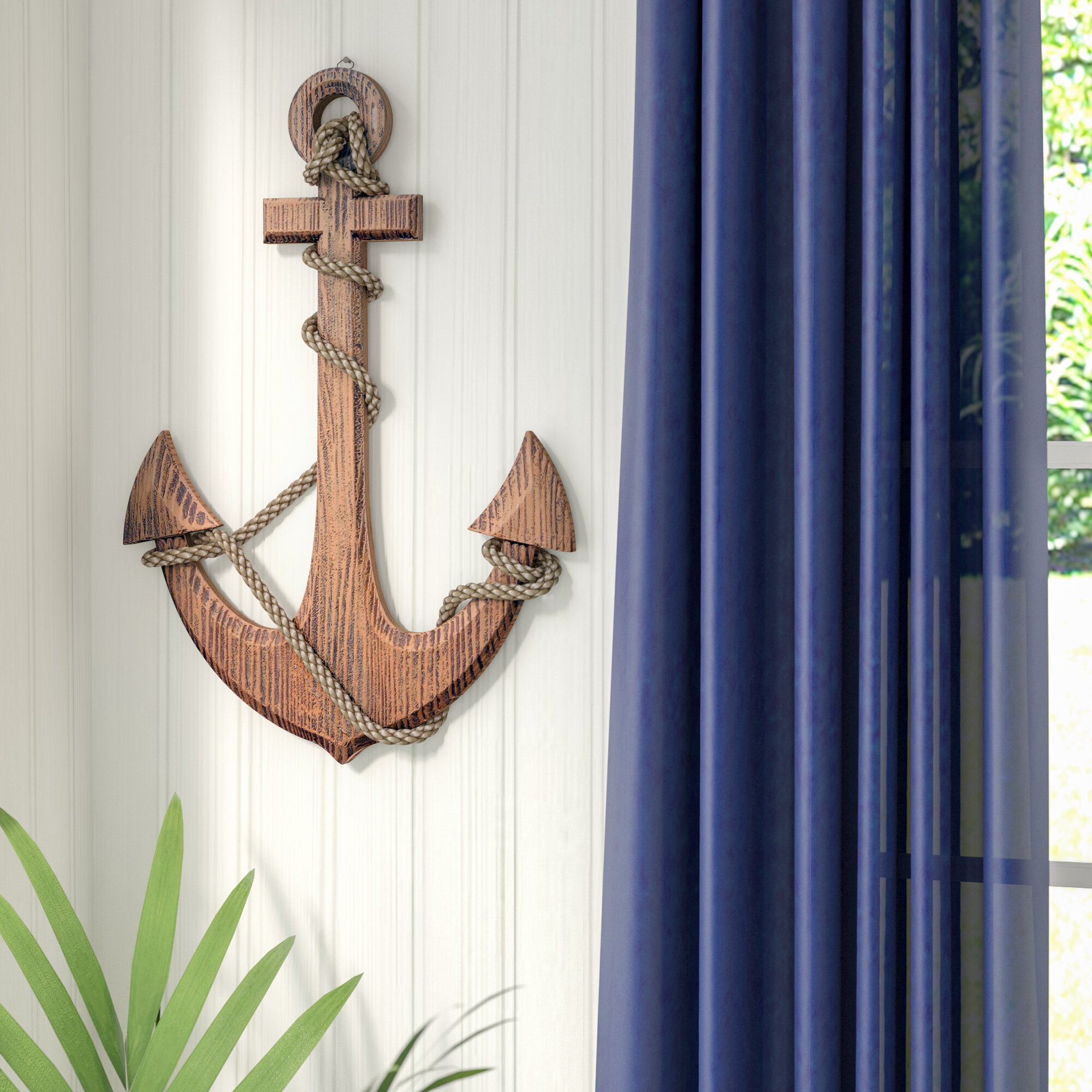 Nautical Wood Anchor Wall