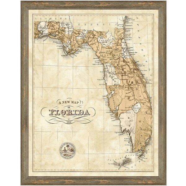 Print Map Of Florida.Charlton Home Map Of Florida Framed Graphic Art Print Wayfair