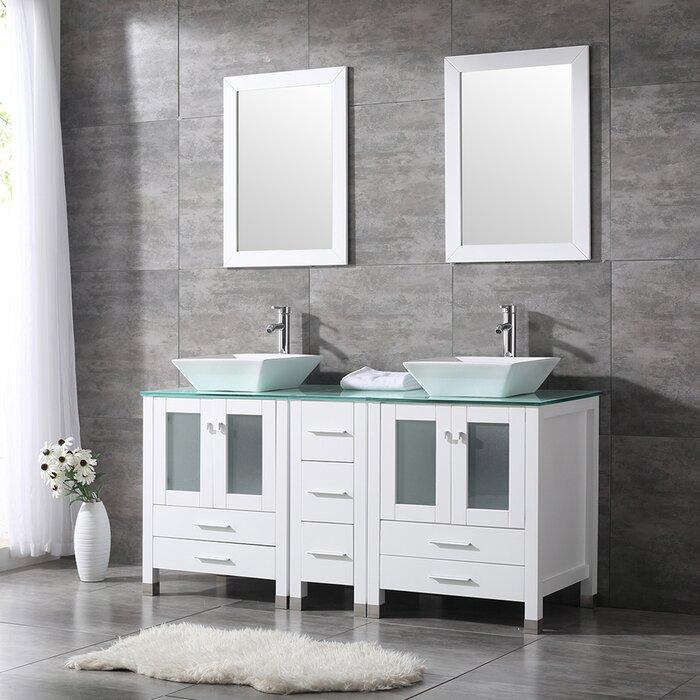 Rochon 60 Double Bathroom Vanity Set With Mirror