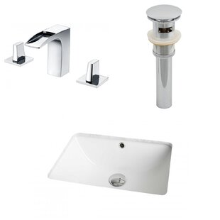 Read Reviews Ceramic Rectangular Undermount Bathroom Sink with Faucet and Overflow ByAmerican Imaginations