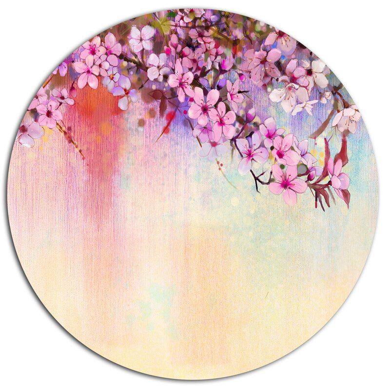 Watercolor Painting Cherry Blossoms Oil Print On Metal