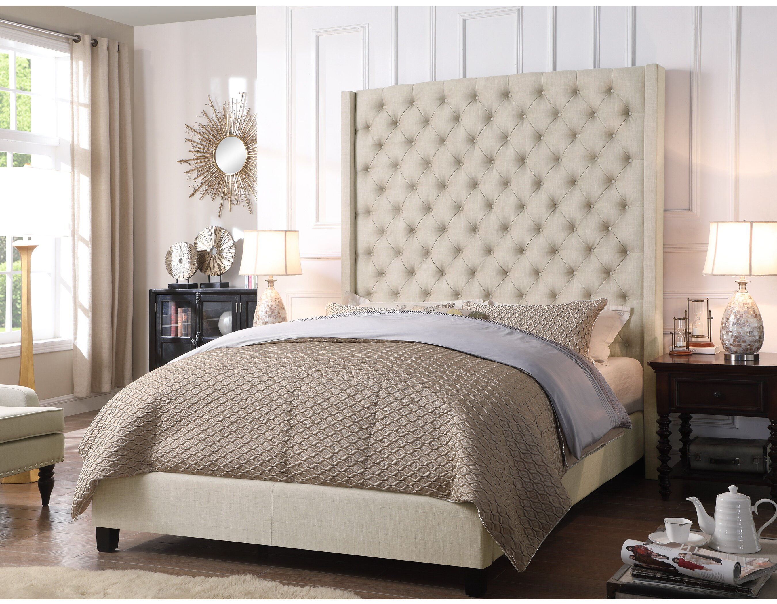 Instant Home Antonio Wingback Tufted High Headboard Upholstered Standard Bed Reviews Wayfair