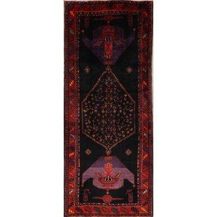 Bargain One-of-a-Kind Kirwan Bidjar Persian Hand-Knotted Runner 4'6 x 11'6 Wool Black/Burgundy Area Rug By Isabelline