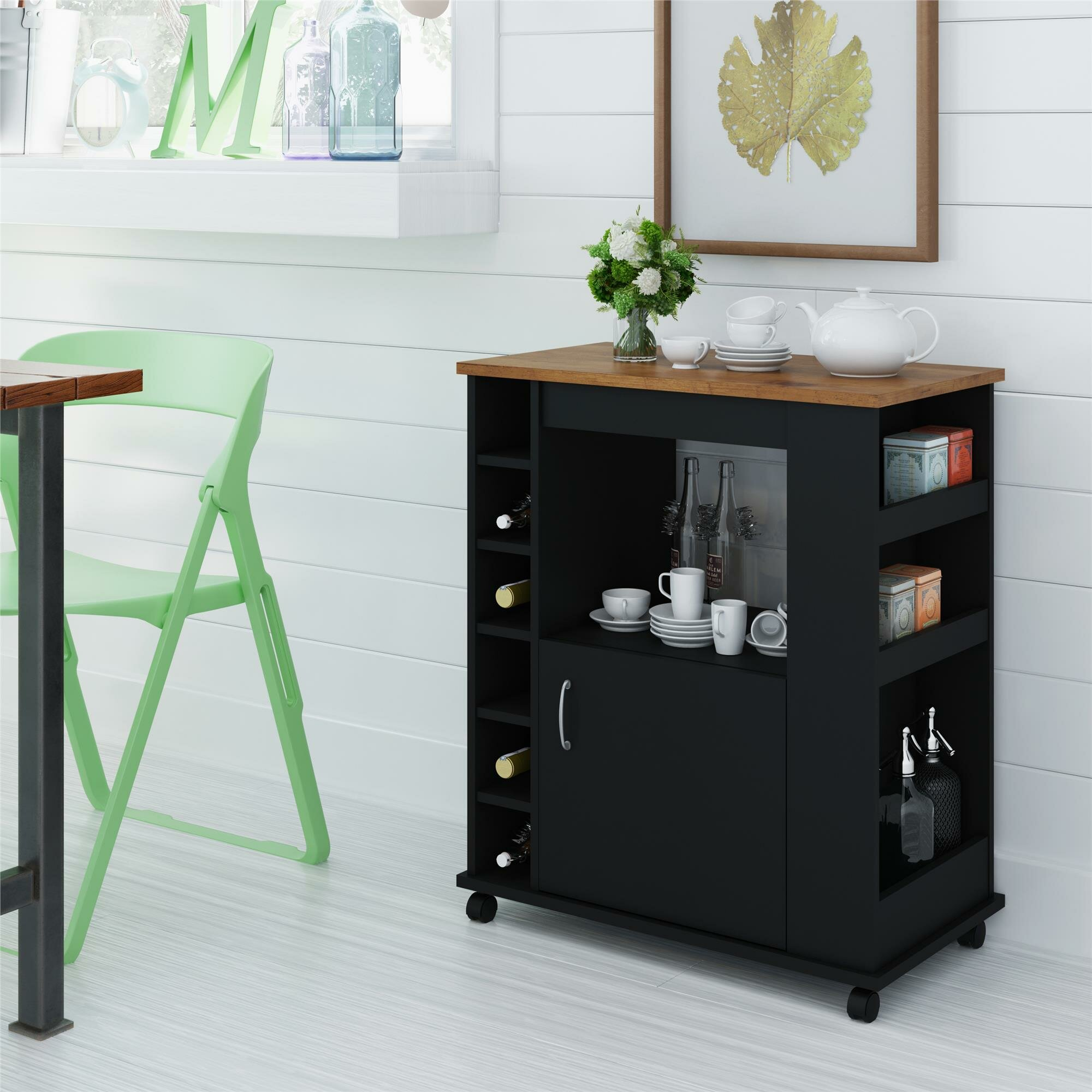 Worcester Kitchen Cart With Wood Top Reviews Joss Main