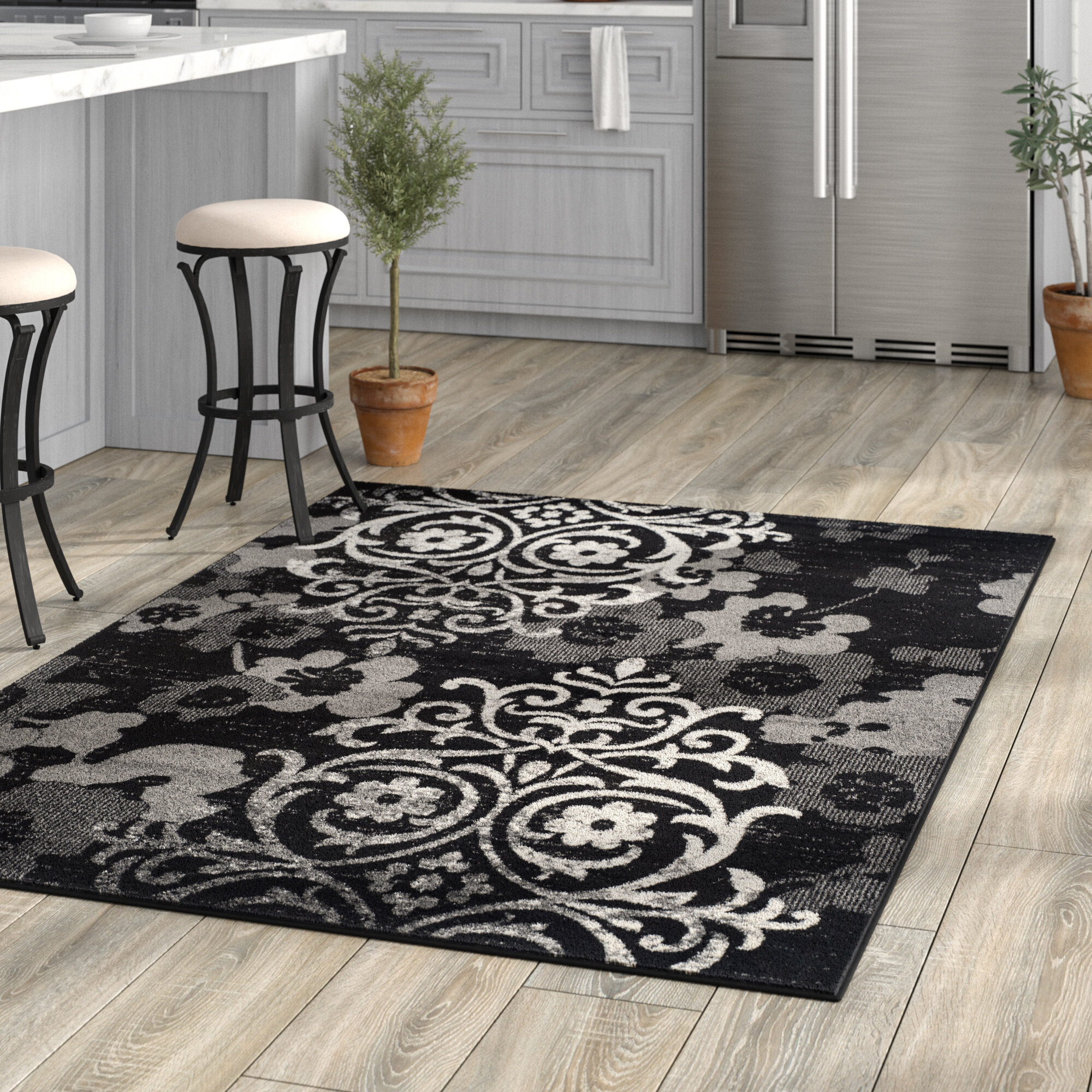 Willa Arlo Interiors Frizzell Power Loomed Blacksilver Area Rug