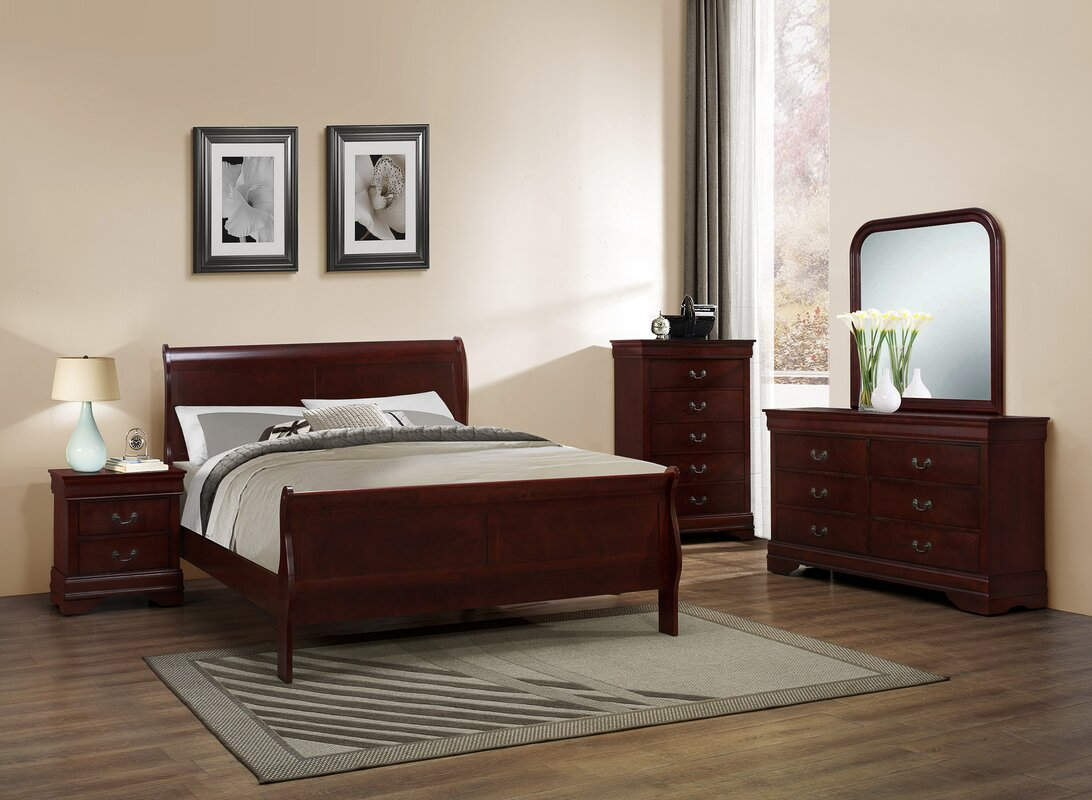 Superb Isola Louis Philippe Sleigh Configurable Bedroom Set