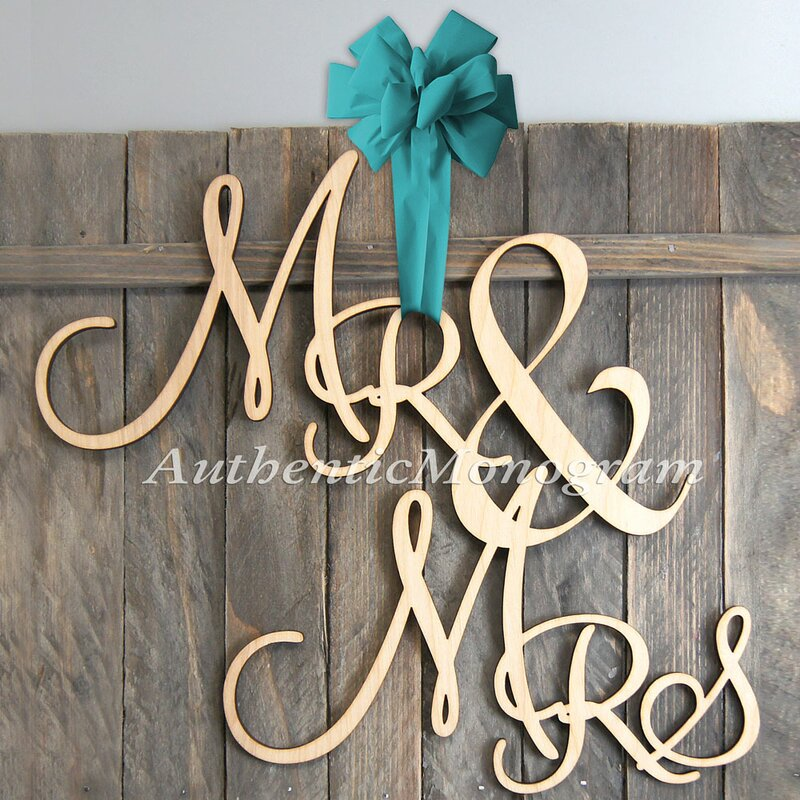 Mr And Mrs Painted Wooden Monogram Wall