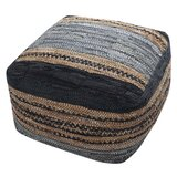 Antal 30 Genuine Leather Square Pouf Ottoman by Bungalow Rose