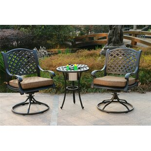 Banuelos Aluminum 3 Piece Bistro Set with Cushions