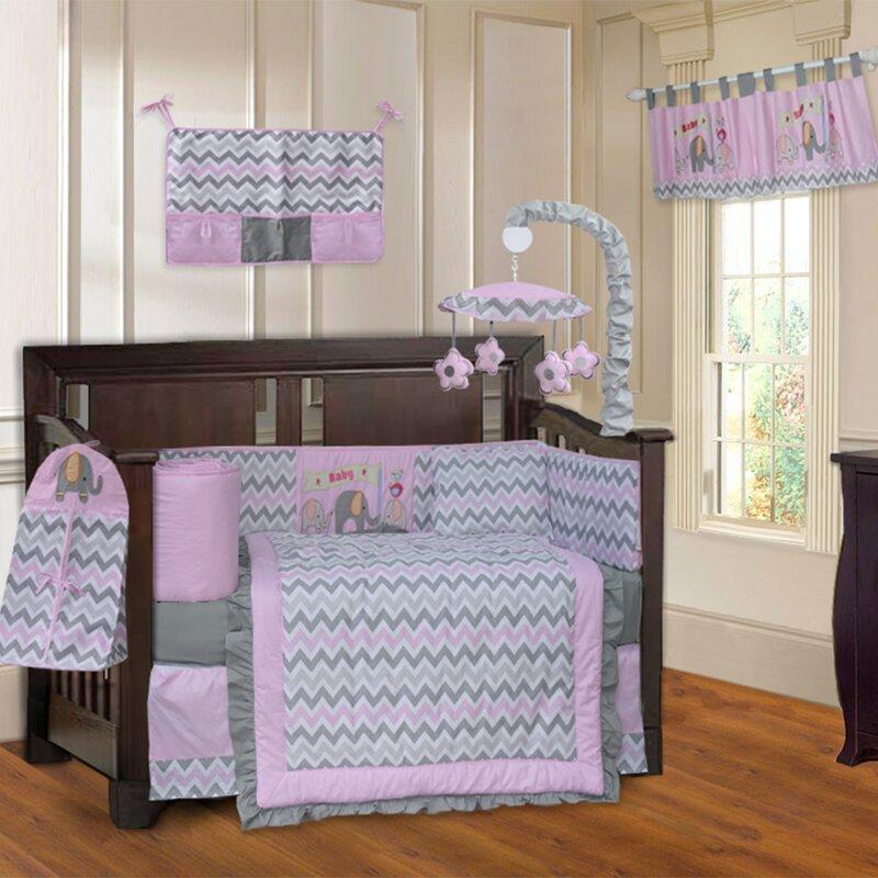 dc963f752d83 Harriet Bee Siu Elephant Zigzag 10 Piece Crib Bedding Set   Reviews ...