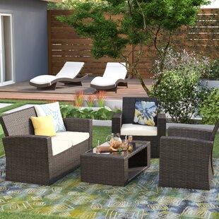 Alfonso 4 Piece Rattan Conversation Sofa Seating Group with Cushions
