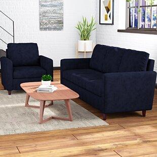 Anglin Raisin Fabric Modern 2 Piece Wood Frame Living Room Set by Wrought Studio
