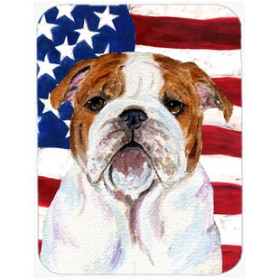 Patriotic USA American Flag with English Bulldog Glass Cutting Board By Caroline's Treasures
