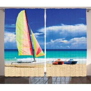 Surfing Boat Decor Graphic Print Room Darkening Rod Pocket Curtain Panels (Set of 2) by East Urban Home