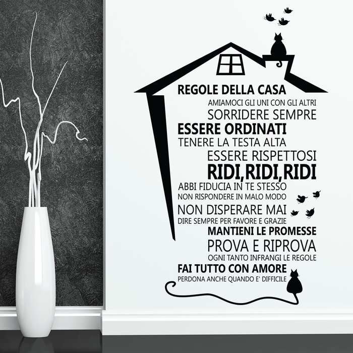 Cat House Roof and Italian Family Quotes Wall Decal
