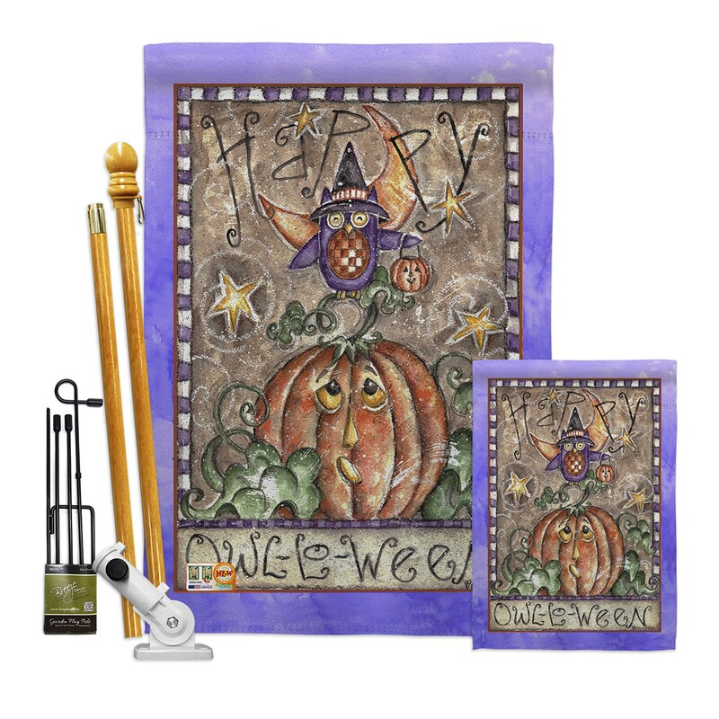 Breeze Decor Happy Owl Lo Ween Impressions Decorative 2 Sided Polyester 40 X 28 In Flag Set Wayfair