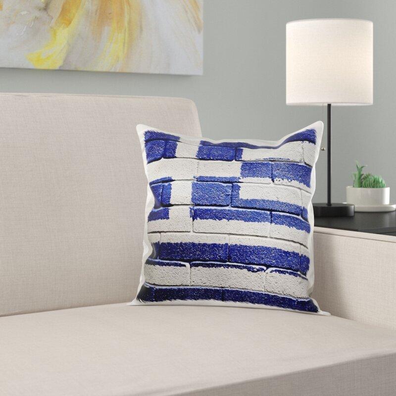 East Urban Home Everiz National Flag Of Greece Painted Onto A Brick Wall Greek Pillow Cover Wayfair
