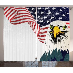 Eagle and Flag Decor Graphic Print Room Darkening Rod Pocket Curtain Panels (Set of 2) by East Urban Home