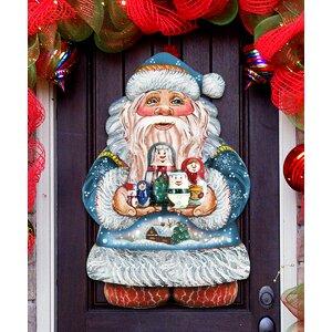 Santa Holding Nested Dolls Wooden Door Hanger