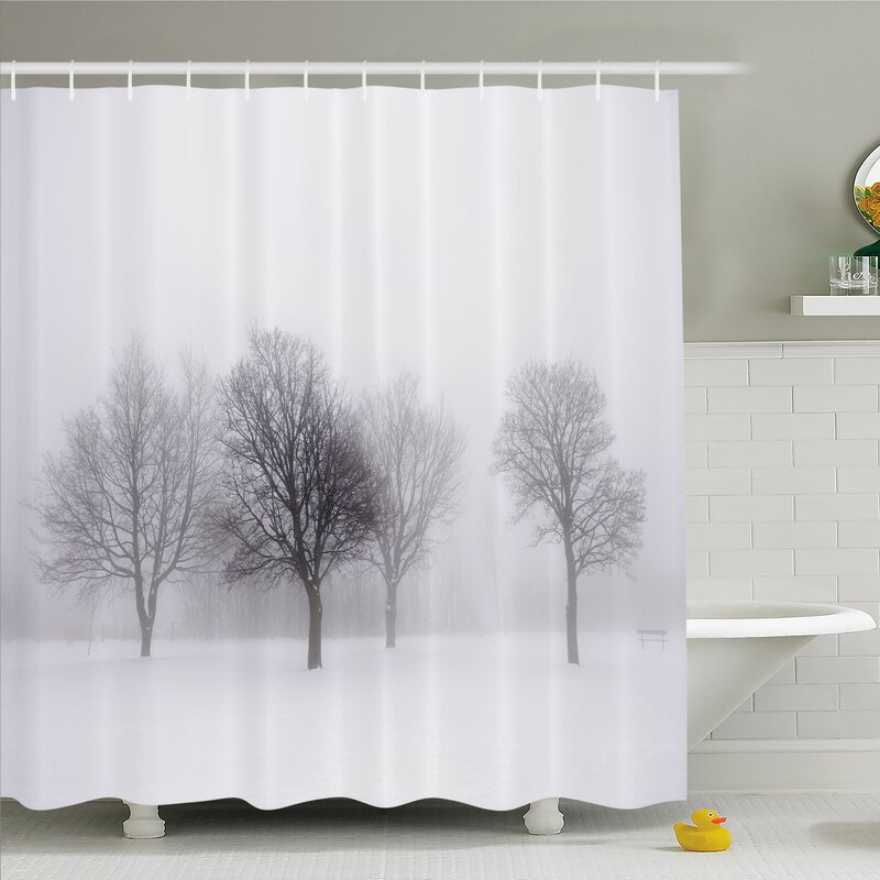 Winter Foggy Scene With Leafless Tree Branch In Hazy Weather Artsy Print Shower Curtain Set