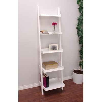 on leaning finished ladder bookshelf shop with bookcase big drawers red cherry drawer deal
